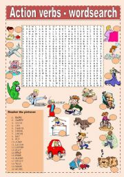 English Worksheets: Action verbs - wordsearch