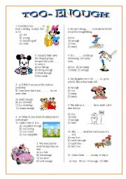 English Worksheets: too- enough