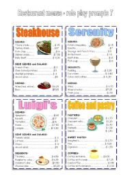 English Worksheet: RESTAURANT MENUS