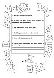 photo about Mothers Day Printable Activities titled Moms Working day Near the Entire world - ESL worksheet by way of me_fig