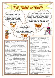 English Worksheet: Do, Make  or Take