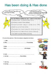 English Worksheets: has been doing & has done