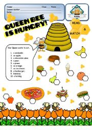 English Worksheet: FOOD - Queen Bee is hungry! - 1