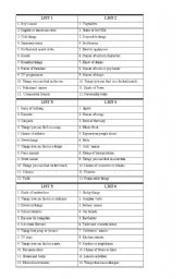 English Worksheet: Scattergories