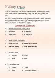 English Worksheets: FUNNY CLEO THE CLOWN