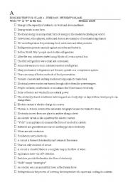 English Worksheet: Electricity, current, refrigeration