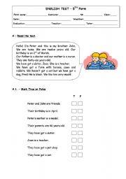 English Worksheets: English test_5th form