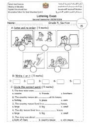 english worksheets student sheet for the listening test about city mouse and country mouse. Black Bedroom Furniture Sets. Home Design Ideas