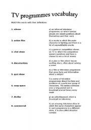 English Worksheets: tv programmes vocabulary matching