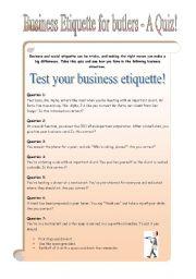 Business Etiquette for butlers - 7 pages - QUIZ (PART 2)