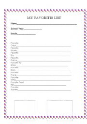 English Worksheets: My Favorites List