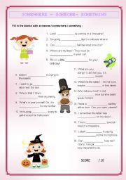 English Worksheets: SOMEONE - SOMEWHERE - SOMETHING (key included)