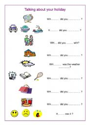 English Worksheets: Questions about your holiday