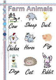 English Worksheets: Farm animals Pictionary