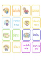 English Worksheets: Sicknesses Memory Game (Part 2 of 2)