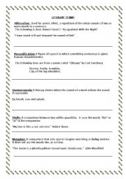 English Worksheets: Literary terms