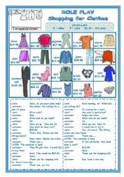 English Worksheet: ROLE PLAY   -   SHOPPING FOR CLOTHES