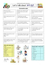 English Worksheet: Let�s talk about WORK