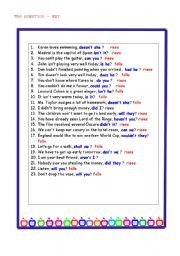 English Worksheets: Tag Questions-KEY