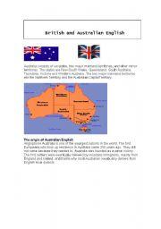 English Worksheet: British and Australian English