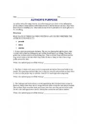 English Worksheets: Author�s Purpose