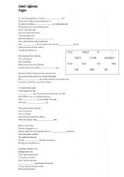 English Worksheet: Hotel Calif�rnia