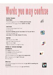 English Worksheets: Words yo may confuse