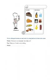 English Worksheets: writing activity about food