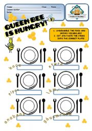 English Worksheets: FOOD - Queen Bee is hungry! - 2