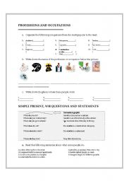 English Worksheet: jobs and workplaces using questions with do and does