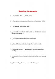 English worksheets: Report Card Comments