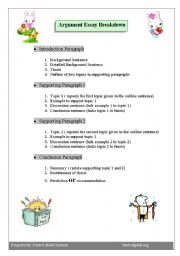 English worksheet: Argument Essay Breakdown