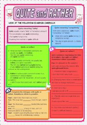 English Worksheets: QUITE and RATHER