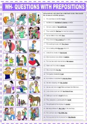English Worksheets: WH-QUESTIONS WITH PREPOSITIONS