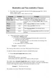 English Worksheets: Restrictive and Non-restrictive Clauses