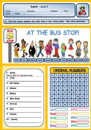 AT THE BUS STOP! (ORDINAL NUMBERS) - ESL worksheet by xani