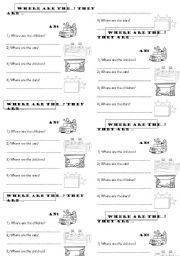 English Worksheets: Where are they? IN ON UNDER BEHIND