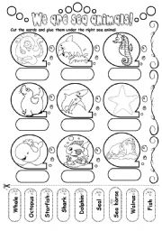 English Worksheets: We are sea animals!