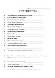 English teaching worksheets: West Side Story