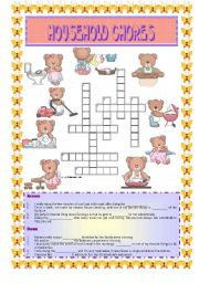 English Worksheets: HOUSEHOLD CHORES- Crossword