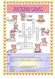 English Worksheet: HOUSEHOLD CHORES- Crossword