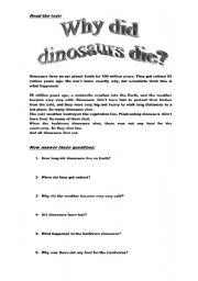 english worksheets dinosaurs extinction. Black Bedroom Furniture Sets. Home Design Ideas