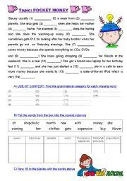 English Worksheets: POCKET MONEY