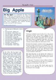 English Worksheets: big apple: keys