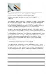 English Worksheets: topics for argumentative writing