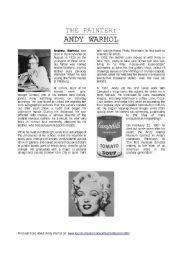 english worksheet biography andy warhol. Black Bedroom Furniture Sets. Home Design Ideas