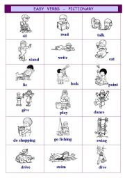 Easy verbs - pictionary