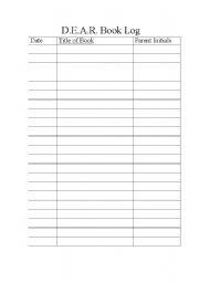 English Worksheets: Reading Log