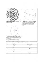 English worksheet: Circles