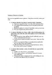English Worksheet: Sentence Patterns to Imitate